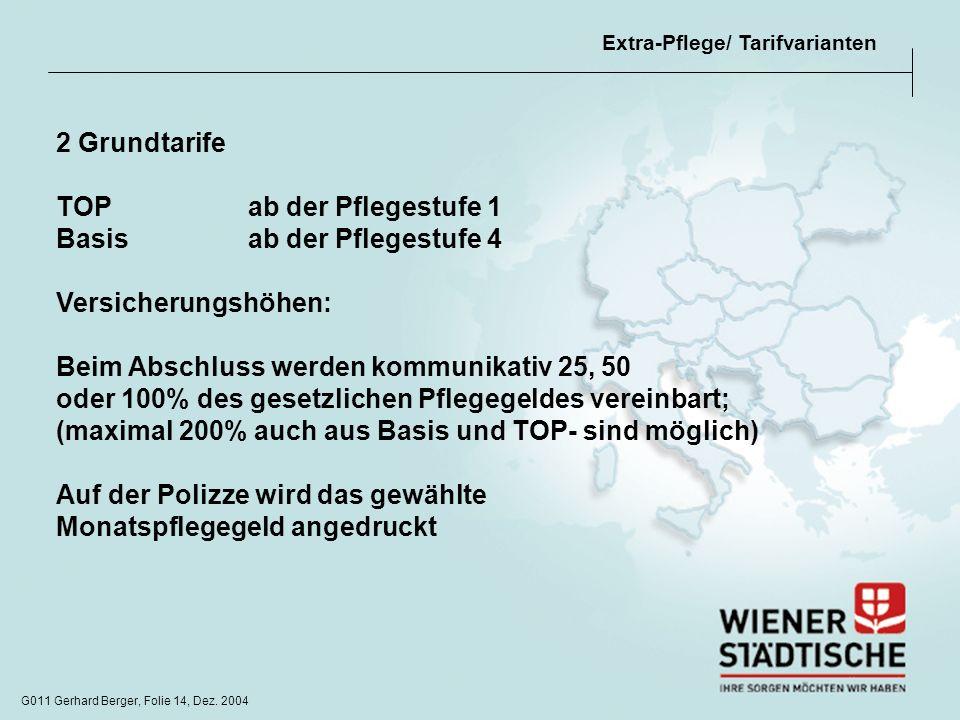 G011 Gerhard Berger, Folie 14, Dez. 2004 Extra-Pflege/ Tarifvarianten 2 Grundtarife TOPab der Pflegestufe 1 Basis ab der Pflegestufe 4 Versicherungshö