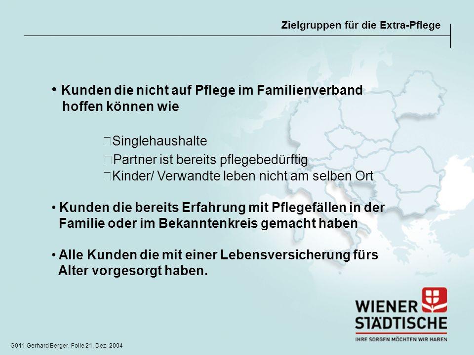 G011 Gerhard Berger, Folie 21, Dez. 2004 Zielgruppen für die Extra-Pflege Kunden die nicht auf Pflege im Familienverband hoffen können wie Singlehaush