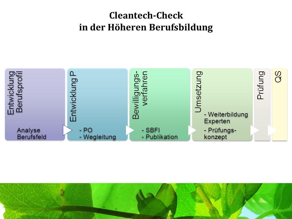 Cleantech-Check in der Höheren Berufsbildung Entwicklung Berufsprofil Analyse Berufsfeld Entwicklung P - PO - Wegleitung Bewilligungs- verfahren - SBF