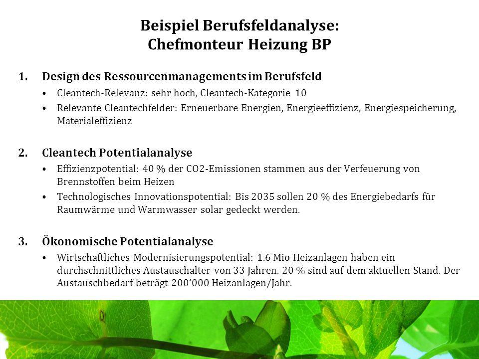 Beispiel Berufsfeldanalyse: Chefmonteur Heizung BP 1.Design des Ressourcenmanagements im Berufsfeld Cleantech-Relevanz: sehr hoch, Cleantech-Kategorie
