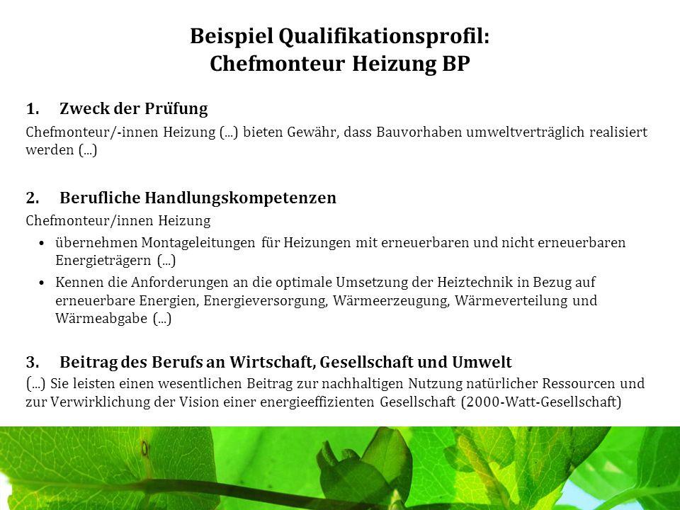 Beispiel Qualifikationsprofil: Chefmonteur Heizung BP 1.Zweck der Prüfung Chefmonteur/-innen Heizung (...) bieten Gewähr, dass Bauvorhaben umweltvert