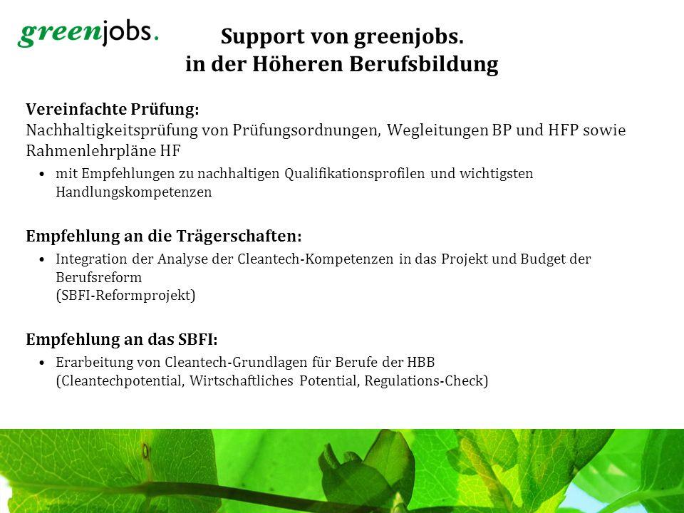 Support von greenjobs. in der Höheren Berufsbildung Vereinfachte Prüfung: Nachhaltigkeitsprüfung von Prüfungsordnungen, Wegleitungen BP und HFP sowie