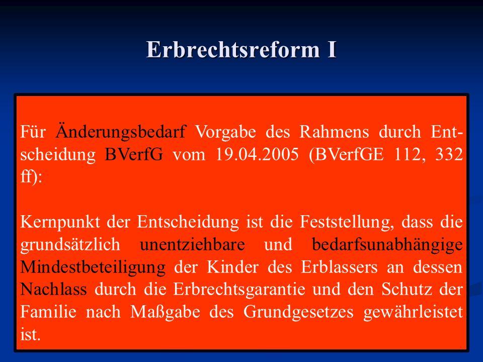 Erbrechtsreform I Für Änderungsbedarf Vorgabe des Rahmens durch Ent- scheidung BVerfG vom 19.04.2005 (BVerfGE 112, 332 ff): Kernpunkt der Entscheidung