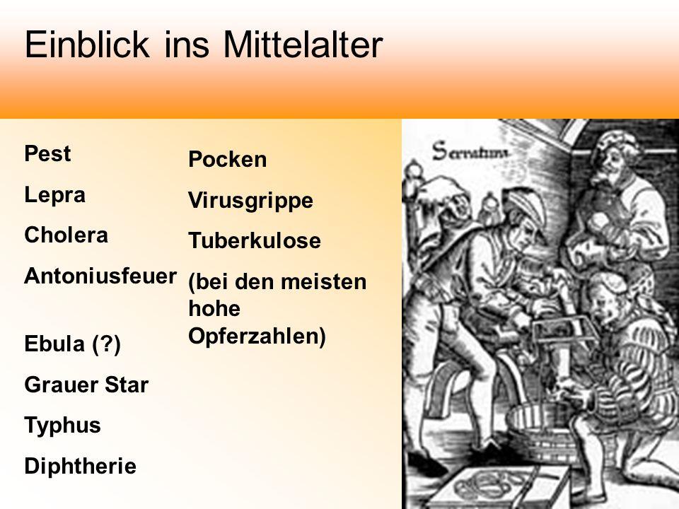Pest Lepra Cholera Antoniusfeuer Ebula (?) Grauer Star Typhus Diphtherie Pocken Virusgrippe Tuberkulose (bei den meisten hohe Opferzahlen) Einblick in