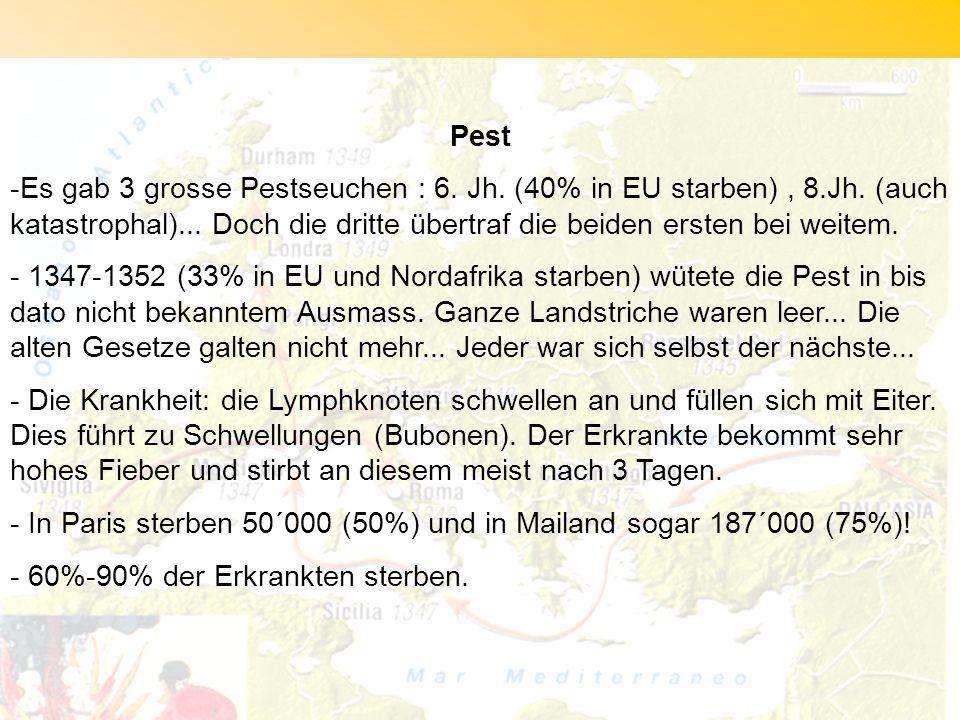 Pest -Es gab 3 grosse Pestseuchen : 6. Jh. (40% in EU starben), 8.Jh. (auch katastrophal)... Doch die dritte übertraf die beiden ersten bei weitem. -