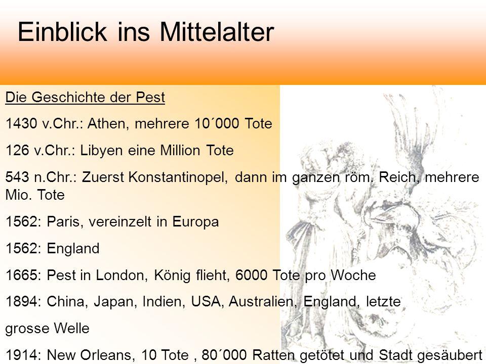 Die Geschichte der Pest 1430 v.Chr.: Athen, mehrere 10´000 Tote 126 v.Chr.: Libyen eine Million Tote 543 n.Chr.: Zuerst Konstantinopel, dann im ganzen