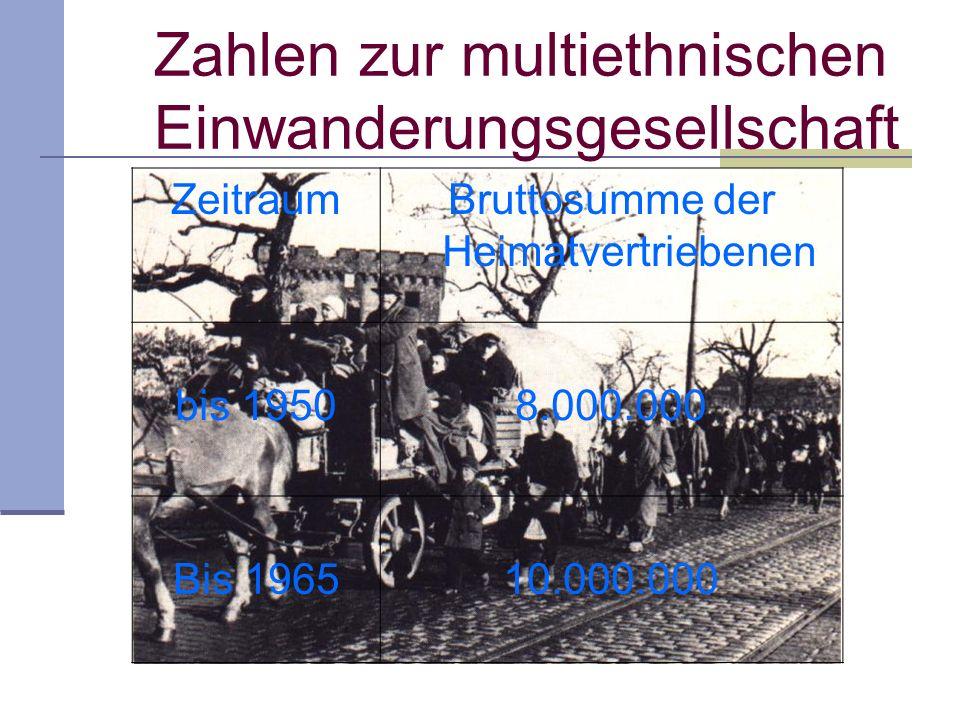 Zahlen zur multiethnischen Einwanderungsgesellschaft ZeitraumBruttosumme der Heimatvertriebenen bis 19508.000.000 Bis 196510.000.000