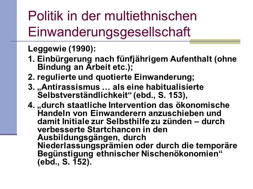 Politik in der multiethnischen Einwanderungsgesellschaft Leggewie (1990): 1. Einbürgerung nach fünfjährigem Aufenthalt (ohne Bindung an Arbeit etc.);