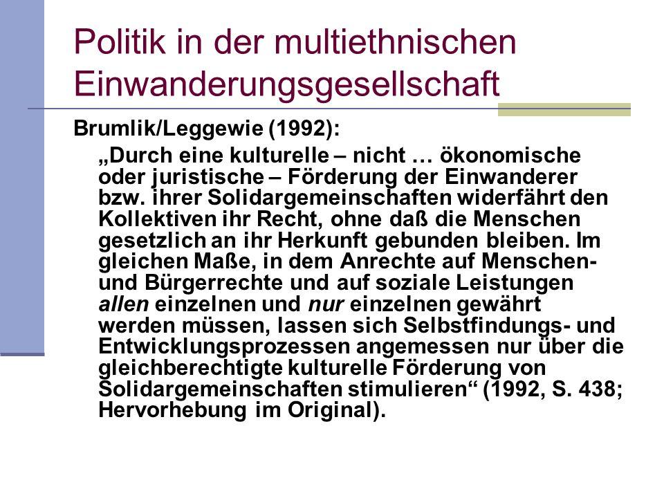 Politik in der multiethnischen Einwanderungsgesellschaft Brumlik/Leggewie (1992): Durch eine kulturelle – nicht … ökonomische oder juristische – Förde