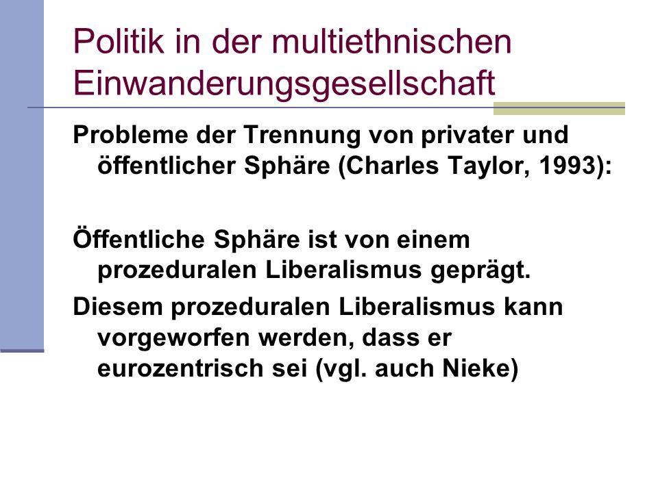 Politik in der multiethnischen Einwanderungsgesellschaft Probleme der Trennung von privater und öffentlicher Sphäre (Charles Taylor, 1993): Öffentlich