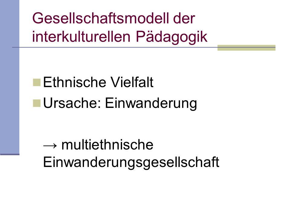 Gesellschaftsmodell der interkulturellen Pädagogik Ethnische Vielfalt Ursache: Einwanderung multiethnische Einwanderungsgesellschaft