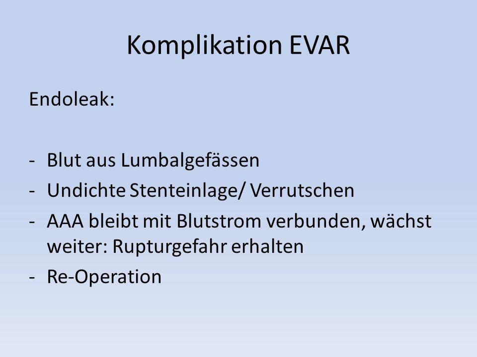 Komplikation EVAR Endoleak: -Blut aus Lumbalgefässen -Undichte Stenteinlage/ Verrutschen -AAA bleibt mit Blutstrom verbunden, wächst weiter: Rupturgef