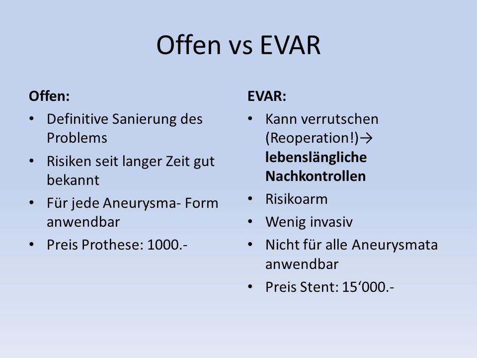 Offen vs EVAR Offen: Definitive Sanierung des Problems Risiken seit langer Zeit gut bekannt Für jede Aneurysma- Form anwendbar Preis Prothese: 1000.-