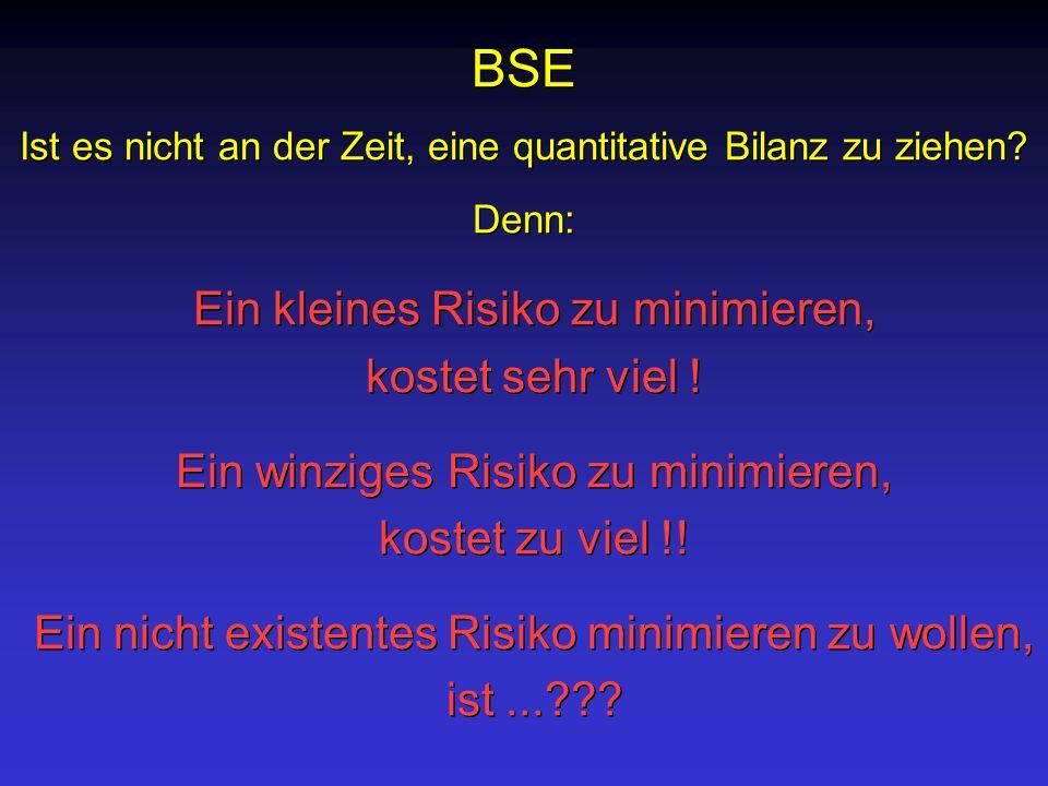 BSE Ist es nicht an der Zeit, eine quantitative Bilanz zu ziehen? Denn: BSE Ist es nicht an der Zeit, eine quantitative Bilanz zu ziehen? Denn: Ein kl