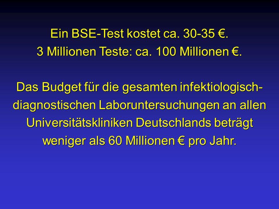 Ein BSE-Test kostet ca. 30-35. 3 Millionen Teste: ca. 100 Millionen. Das Budget für die gesamten infektiologisch- diagnostischen Laboruntersuchungen a