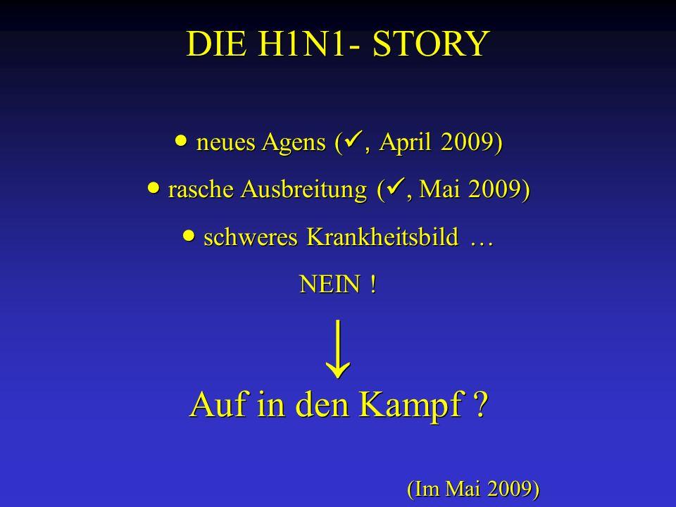 DIE H1N1- STORY neues Agens (, April 2009) rasche Ausbreitung (, Mai 2009) schweres Krankheitsbild … NEIN ! Auf in den Kampf ? (Im Mai 2009) DIE H1N1-