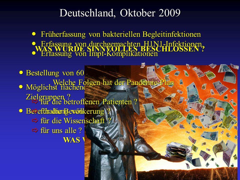 Deutschland, Oktober 2009 WAS WURDE SINNVOLLES BESCHLOSSEN ? Bestellung von 60 Millionen Dosen adjuvierter Vakzine ? Möglichst flächendeckende Impfung