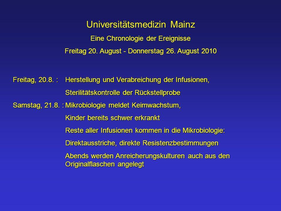 Universitätsmedizin Mainz Eine Chronologie der Ereignisse Freitag 20. August - Donnerstag 26. August 2010 Freitag, 20.8. :Herstellung und Verabreichun