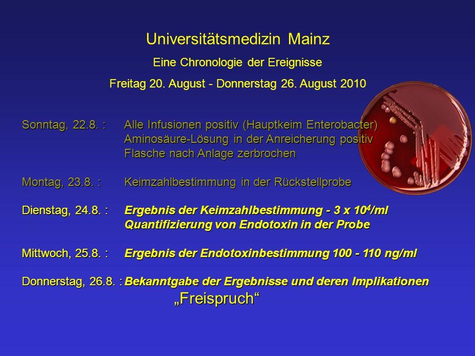 Universitätsmedizin Mainz Eine Chronologie der Ereignisse Freitag 20. August - Donnerstag 26. August 2010 Sonntag, 22.8. :Alle Infusionen positiv (Hau