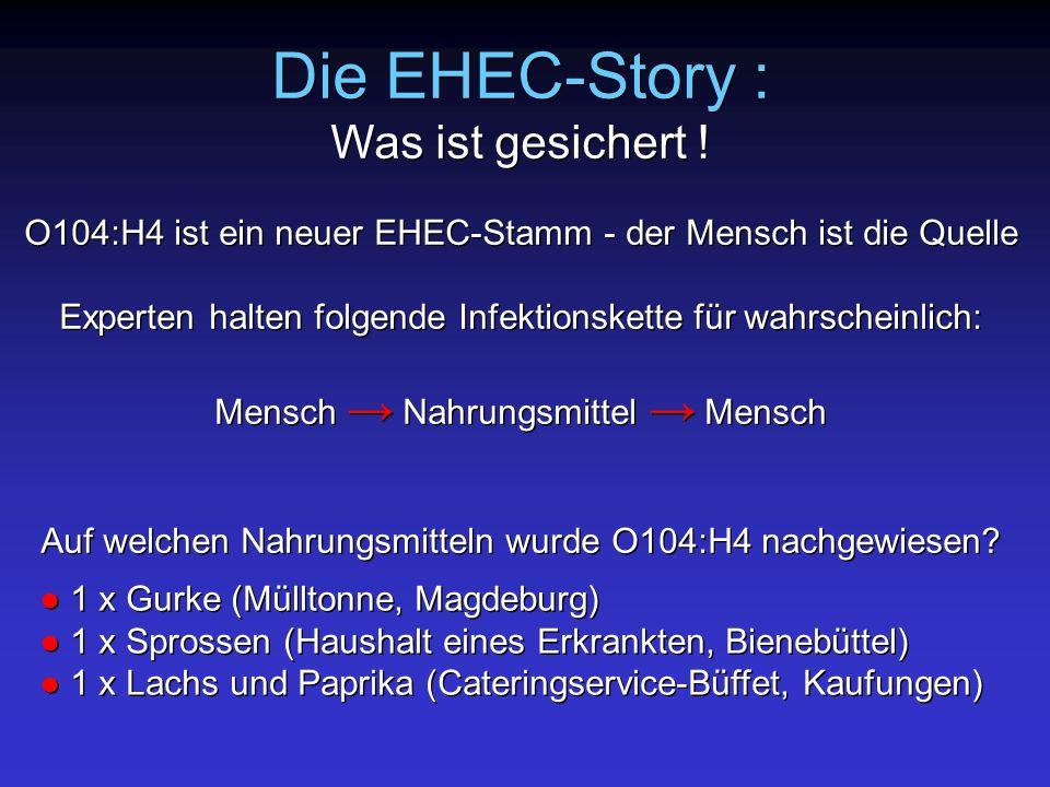 Die EHEC-Story : Was ist gesichert ! O104:H4 ist ein neuer EHEC-Stamm - der Mensch ist die Quelle Experten halten folgende Infektionskette für wahrsch