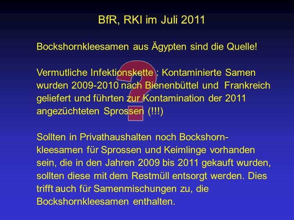 BfR, RKI im Juli 2011 Bockshornkleesamen aus Ägypten sind die Quelle! Vermutliche Infektionskette : Kontaminierte Samen wurden 2009-2010 nach Bienenbü
