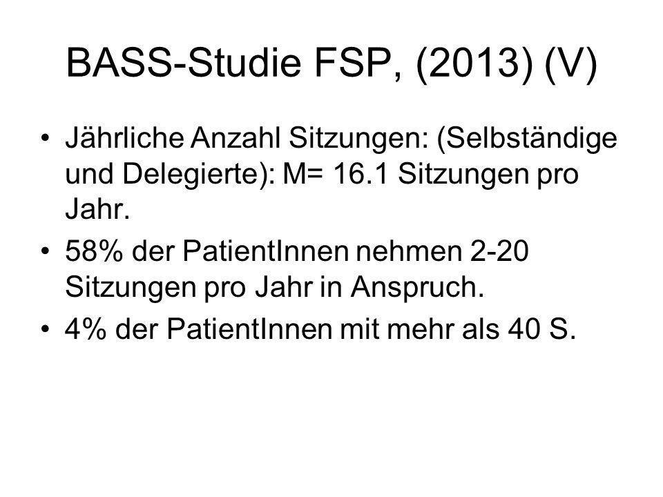 BASS-Studie FSP, (2013) (V) Jährliche Anzahl Sitzungen: (Selbständige und Delegierte): M= 16.1 Sitzungen pro Jahr.