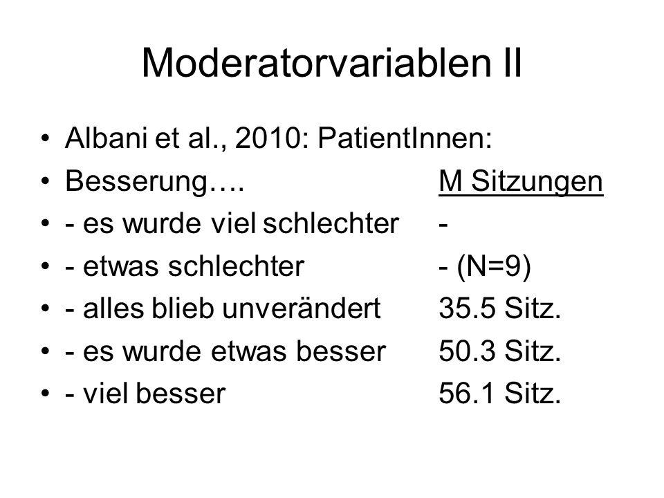 Moderatorvariablen II Albani et al., 2010: PatientInnen: Besserung….M Sitzungen - es wurde viel schlechter- - etwas schlechter- (N=9) - alles blieb unverändert35.5 Sitz.