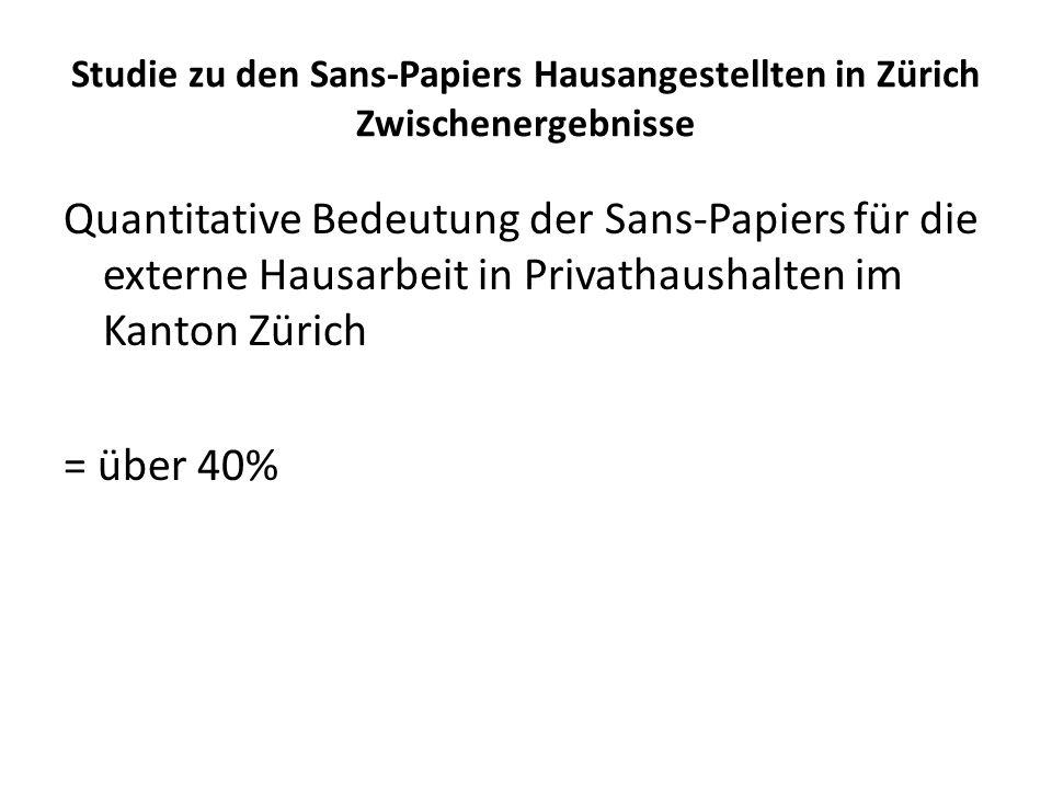 Studie zu den Sans-Papiers Hausangestellten in Zürich Zwischenergebnisse Quantitative Bedeutung der Sans-Papiers für die externe Hausarbeit in Privath