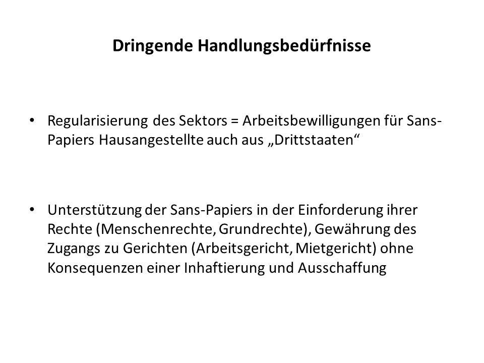 Dringende Handlungsbedürfnisse Regularisierung des Sektors = Arbeitsbewilligungen für Sans- Papiers Hausangestellte auch aus Drittstaaten Unterstützun