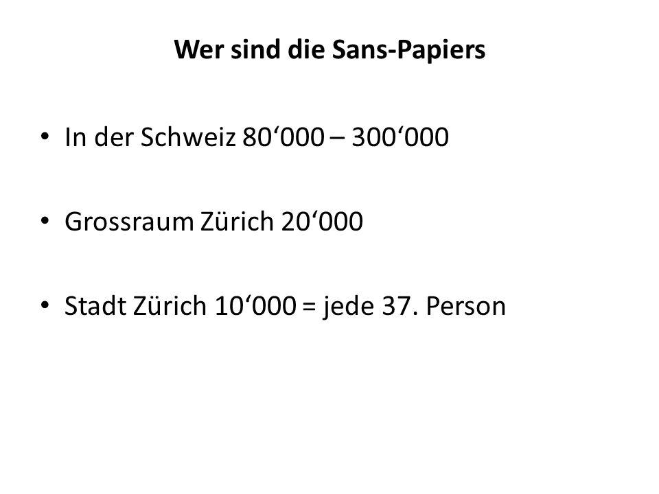 Wer sind die Sans-Papiers In der Schweiz 80000 – 300000 Grossraum Zürich 20000 Stadt Zürich 10000 = jede 37. Person
