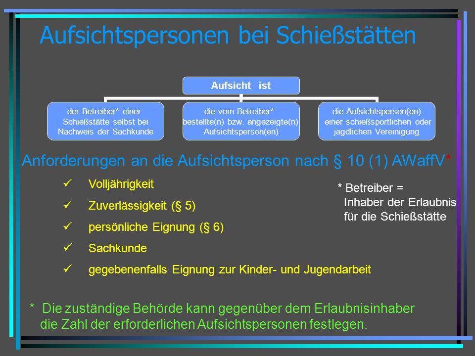 Aufsichtspersonen bei Schießstätten Aufsicht ist der Betreiber* einer Schießstätte selbst bei Nachweis der Sachkunde die vom Betreiber* bestellte(n) b