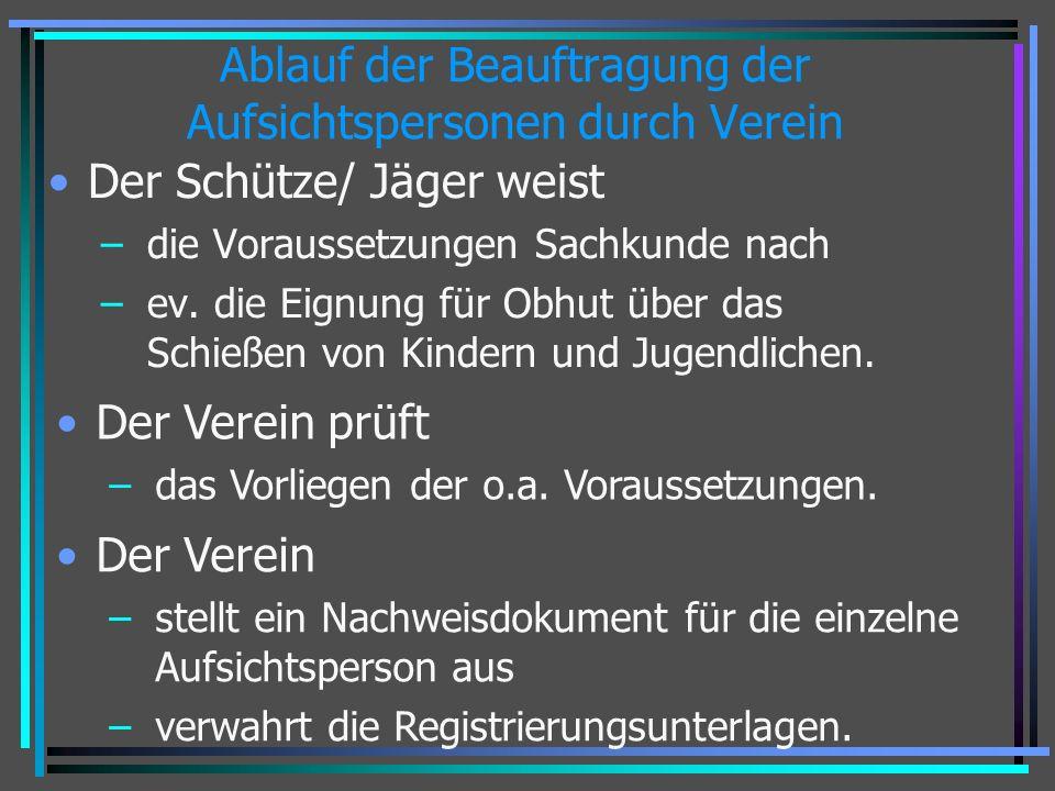 Ablauf der Beauftragung der Aufsichtspersonen durch Verein Der Schütze/ Jäger weist – die Voraussetzungen Sachkunde nach – ev. die Eignung für Obhut ü