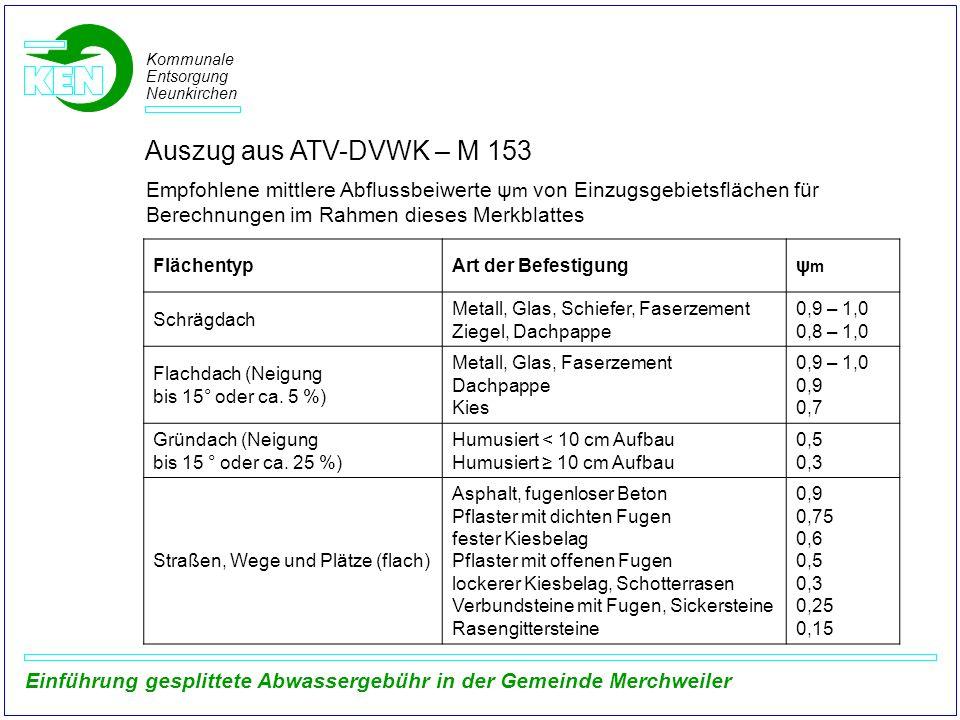 Kommunale Entsorgung Neunkirchen Einführung gesplittete Abwassergebühr in der Gemeinde Merchweiler Empfohlene mittlere Abflussbeiwerte ψ m von Einzugs