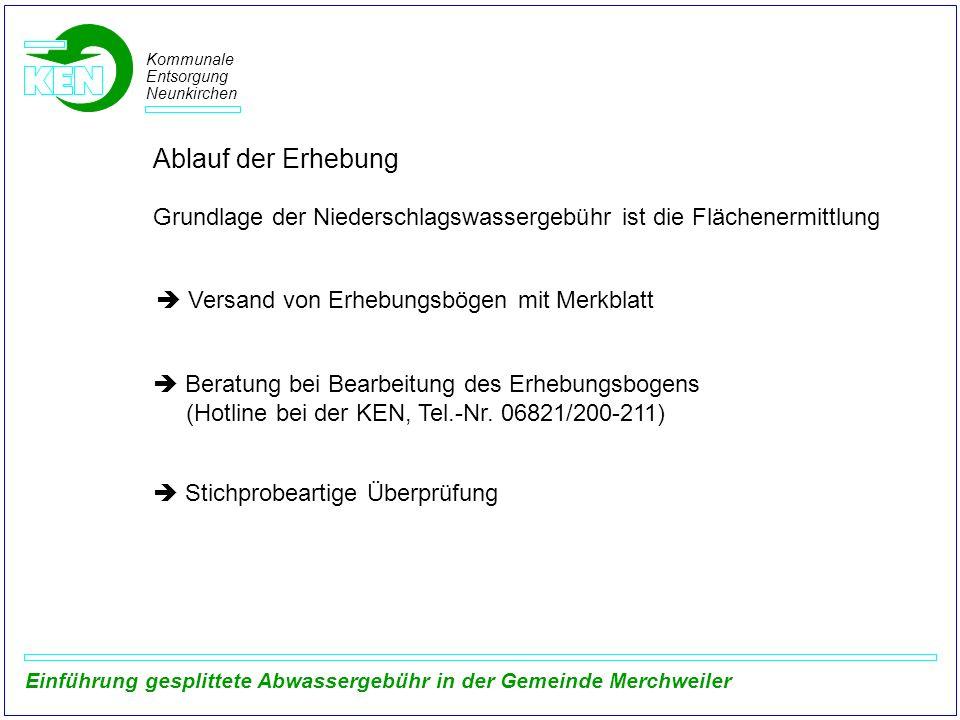 Kommunale Entsorgung Neunkirchen Einführung gesplittete Abwassergebühr in der Gemeinde Merchweiler Ablauf der Erhebung Grundlage der Niederschlagswass