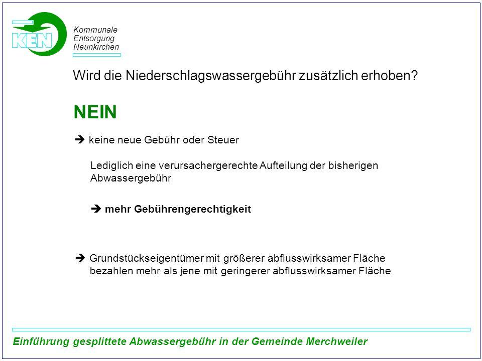 Kommunale Entsorgung Neunkirchen Einführung gesplittete Abwassergebühr in der Gemeinde Merchweiler Oberflächenabfluss von durchlässig befestigten Flächen Auszug aus dem Arbeitsbericht der DWA-Arbeitsgruppe ES-2.6 (2007) Befestigungsart Flächentyp Verlustannahmen [7] Gesamtverluste [mm] ψmψm ψ m [6] hv, A [mm] Vs [l/s,ha] D = 20 min D = 60 min D = 20 min D = 60 min Pflaster, fugendicht2,04,02,483,440,830,840,75 Pflaster mit Fugen3,012,04,447,320,700,670,50 Kiesbelag, fest2,57,03,345,020,780,770,60 Kiesbelag, locker4,016,05,929,760,600,560,30 Schotterrasen4,025,07,0013,000,530,410,30 Verbund-, Sickersteine4,521,07,0212,060,530,450,25 Rasengittersteine6(27-) 3510,218,600,320,15