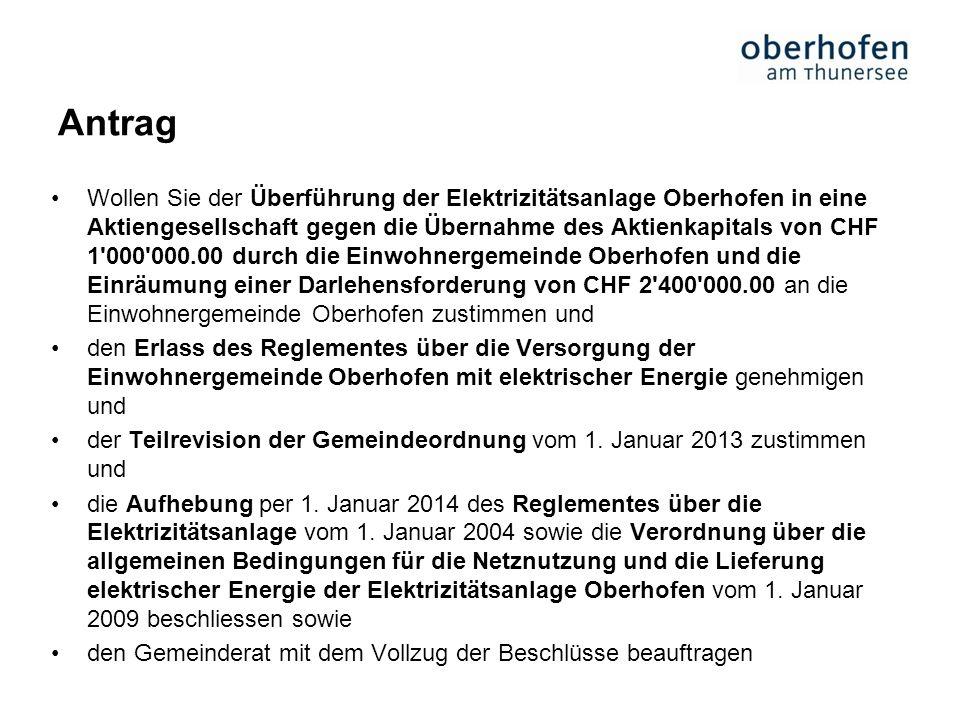 Antrag Wollen Sie der Überführung der Elektrizitätsanlage Oberhofen in eine Aktiengesellschaft gegen die Übernahme des Aktienkapitals von CHF 1'000'00