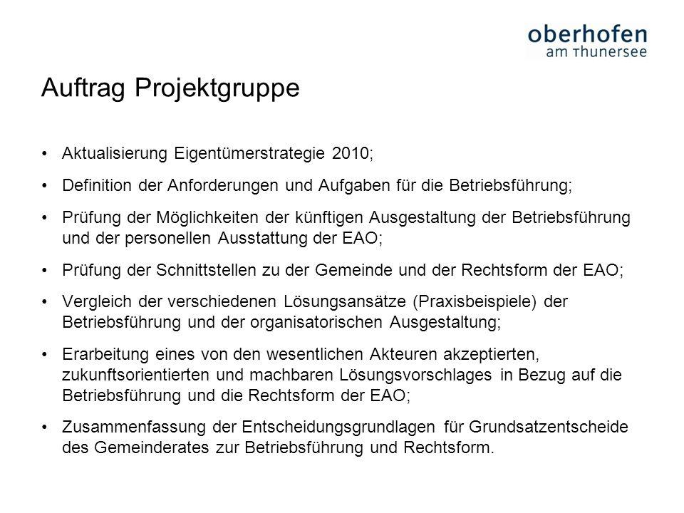 Auftrag Projektgruppe Aktualisierung Eigentümerstrategie 2010; Definition der Anforderungen und Aufgaben für die Betriebsführung; Prüfung der Möglichk