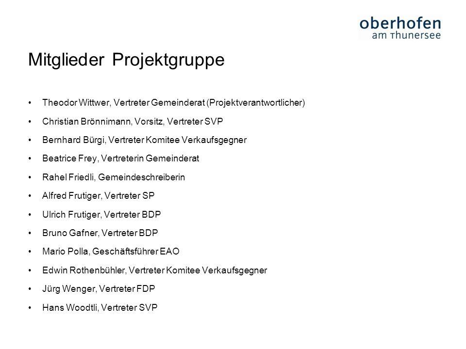 Mitglieder Projektgruppe Theodor Wittwer, Vertreter Gemeinderat (Projektverantwortlicher) Christian Brönnimann, Vorsitz, Vertreter SVP Bernhard Bürgi,