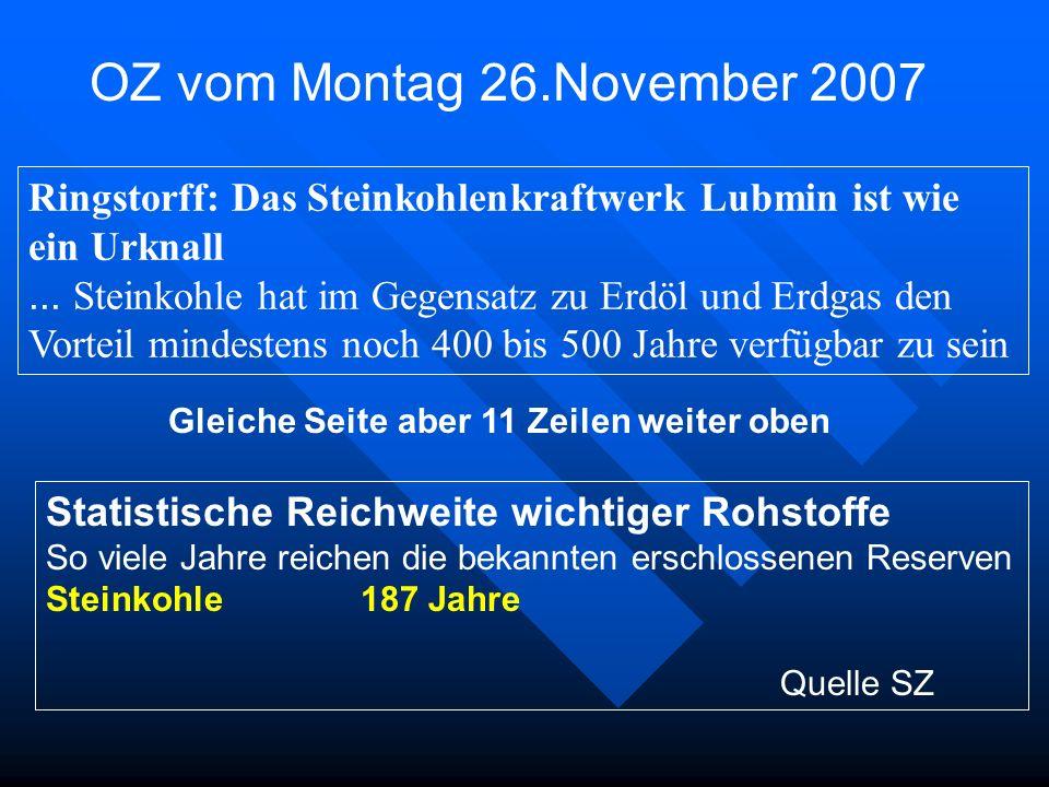 OZ vom Montag 26.November 2007 Statistische Reichweite wichtiger Rohstoffe So viele Jahre reichen die bekannten erschlossenen Reserven Steinkohle 187