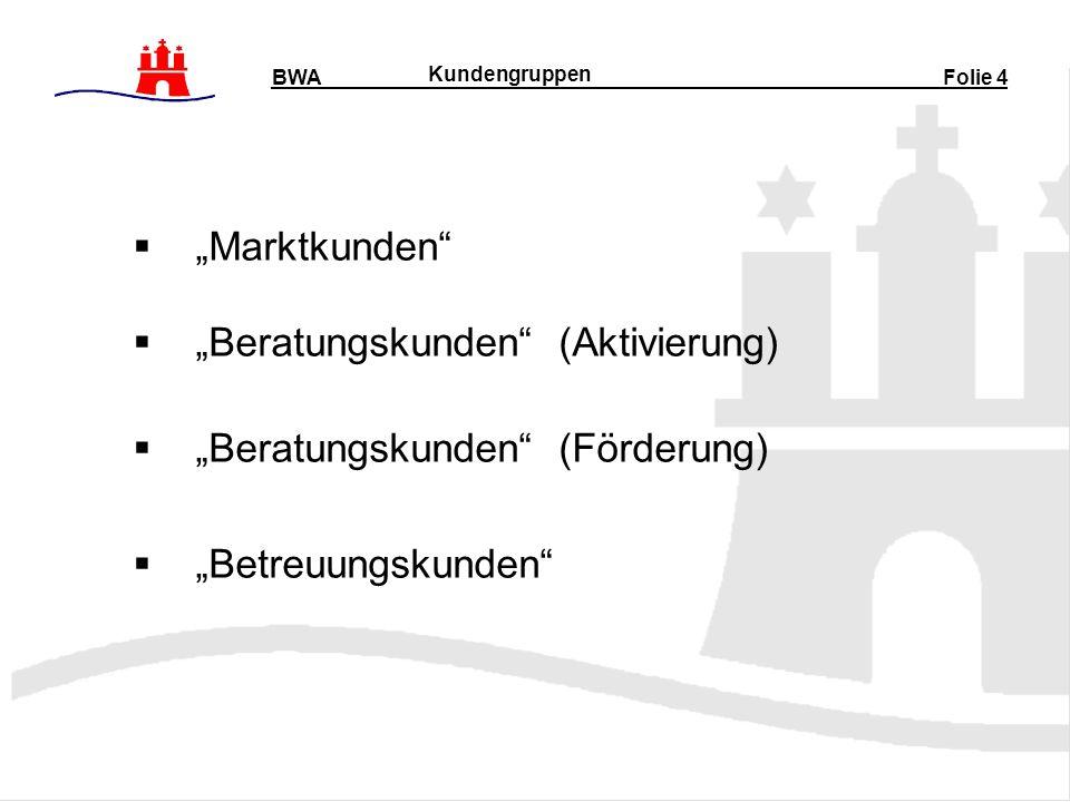 Marktkunden Beratungskunden (Aktivierung) Beratungskunden (Förderung) Betreuungskunden BWA Folie 4 Kundengruppen