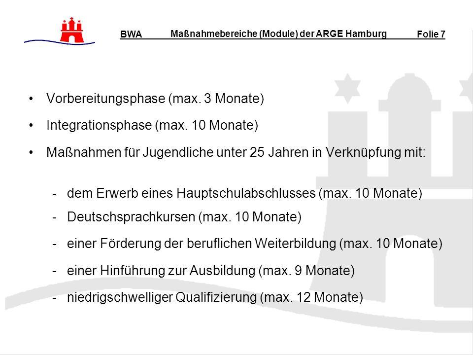 Maßnahmebereiche (Module) der ARGE Hamburg Vorbereitungsphase (max.