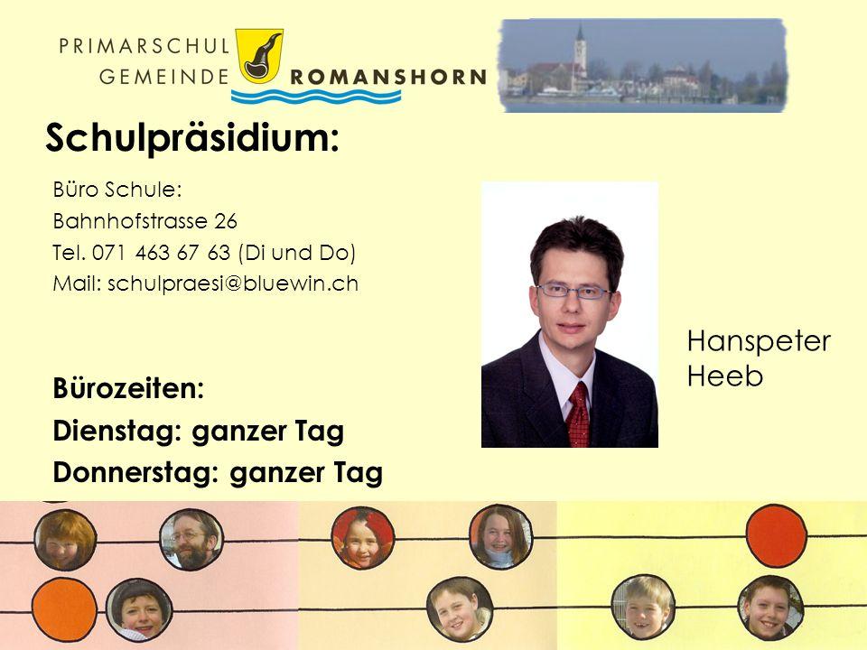 Schulsekretariat: Bahnhofstrasse 26 Tel. 071 463 40 77 Heinz Brüllhardt Carmen Gaus