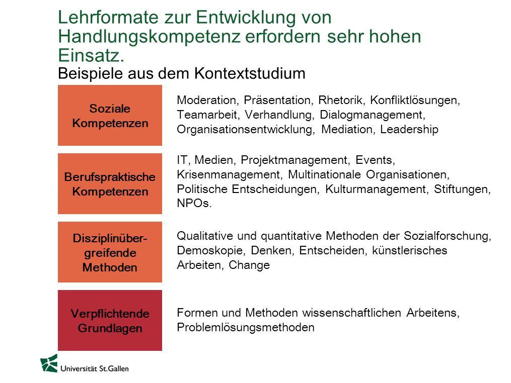 Lehrformate zur Entwicklung von Handlungskompetenz erfordern sehr hohen Einsatz. Beispiele aus dem Kontextstudium Soziale Kompetenzen Berufspraktische
