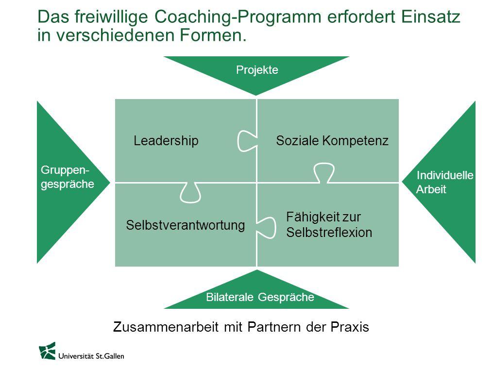 Leadership Selbstverantwortung Das freiwillige Coaching-Programm erfordert Einsatz in verschiedenen Formen. Soziale Kompetenz Fähigkeit zur Selbstrefl