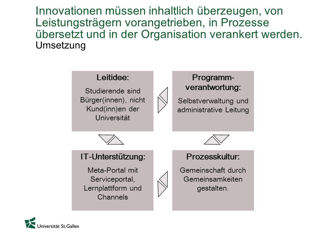 Innovationen müssen inhaltlich überzeugen, von Leistungsträgern vorangetrieben, in Prozesse übersetzt und in der Organisation verankert werden. Umsetz