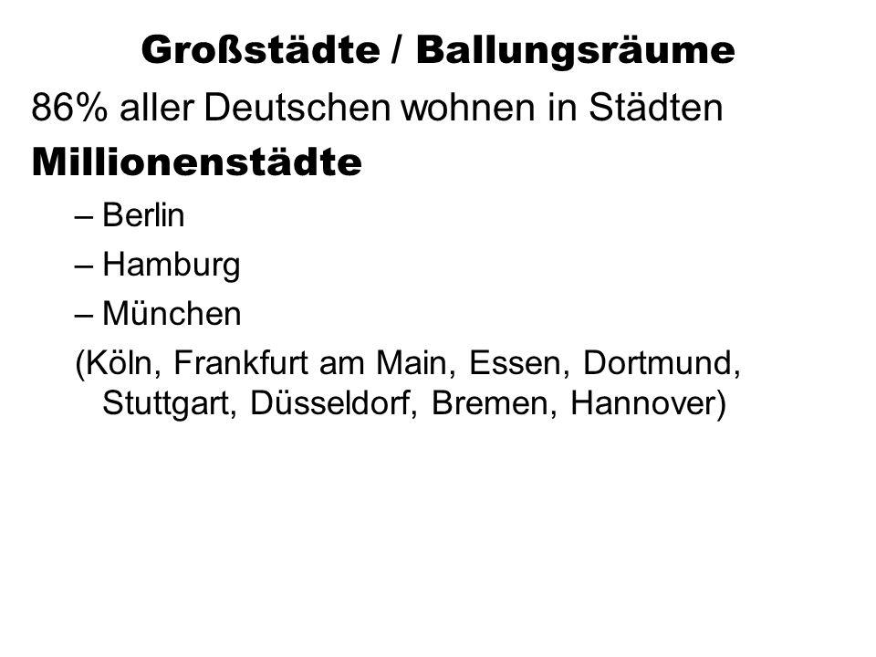 Großstädte / Ballungsräume 86% aller Deutschen wohnen in Städten Millionenstädte –Berlin –Hamburg –München (Köln, Frankfurt am Main, Essen, Dortmund, Stuttgart, Düsseldorf, Bremen, Hannover)