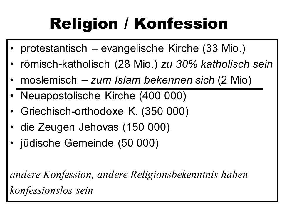 Religion / Konfession protestantisch – evangelische Kirche (33 Mio.) römisch-katholisch (28 Mio.) zu 30% katholisch sein moslemisch – zum Islam bekennen sich (2 Mio) Neuapostolische Kirche (400 000) Griechisch-orthodoxe K.