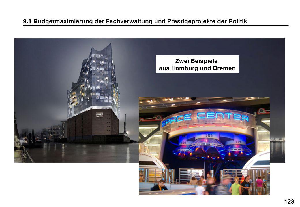 128 9.8 Budgetmaximierung der Fachverwaltung und Prestigeprojekte der Politik Zwei Beispiele aus Hamburg und Bremen