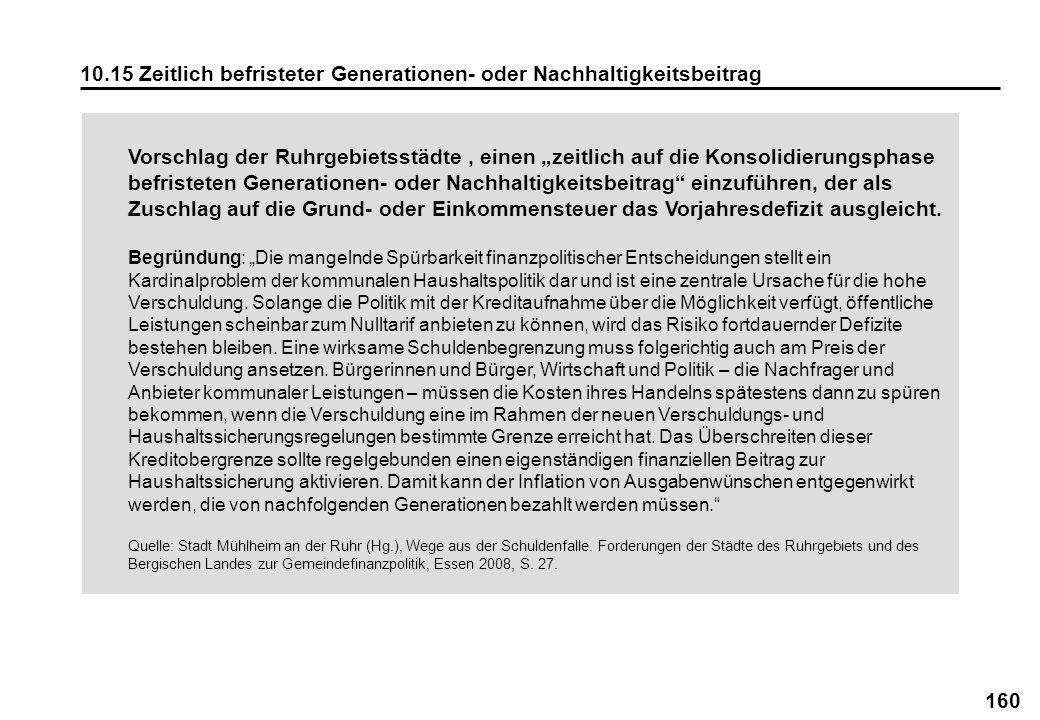 160 10.15 Zeitlich befristeter Generationen- oder Nachhaltigkeitsbeitrag Vorschlag der Ruhrgebietsstädte, einen zeitlich auf die Konsolidierungsphase