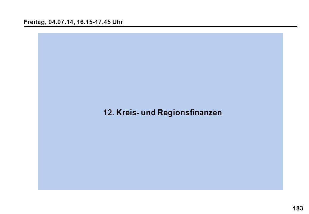 183 Freitag, 04.07.14, 16.15-17.45 Uhr 12. Kreis- und Regionsfinanzen